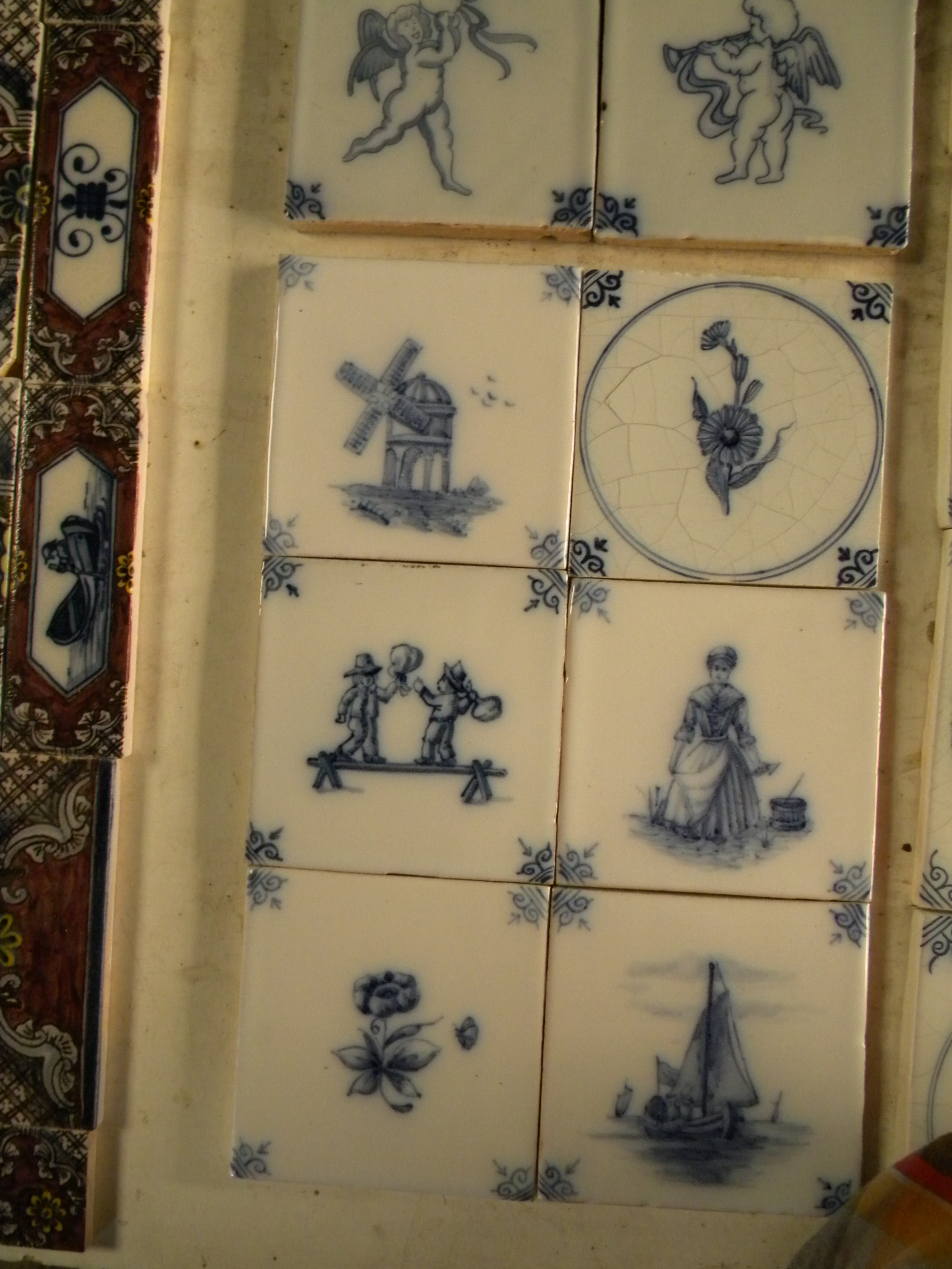 Blue And White Decorative Delft Reproduction Tiles