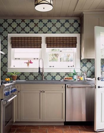 Kitchen Tile Backsplash Star And Cross Tiles Aqua And Gree